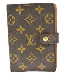 Auth LOUIS VUITTON Agenda PM Day Planner Cover Monogram Leather Brown